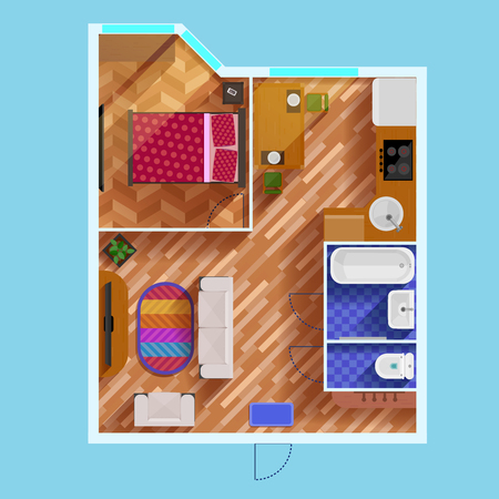 floorplan: Colorful floor plan of apartment with one bedroom living room kitchen bathroom toilet and furniture flat vector illustration