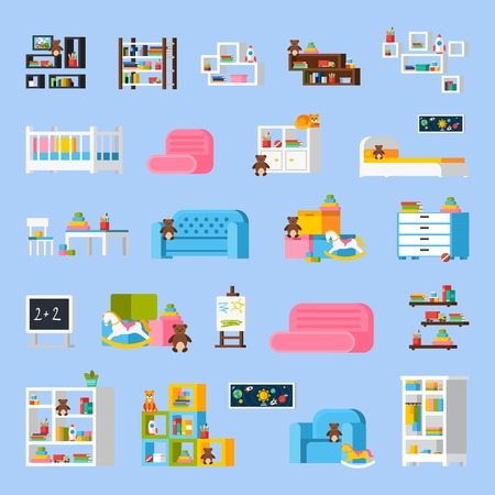 commode: Baby room furniture flat decorative icons with  bed sofa shelves commode cradle toys chalkboard isolated vector illustration Illustration