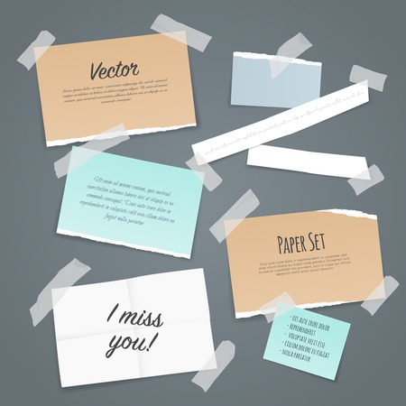 scraps: Paper set of different scraps of paper stuck by sticky tape on pale blue background vector illustration