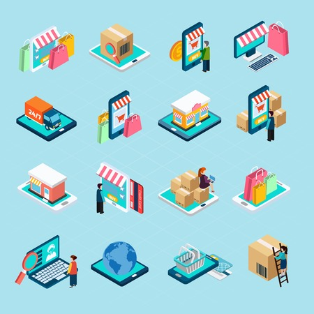 Mobile shopping with various related elements isometric isolated icons set on blue background vector illustration