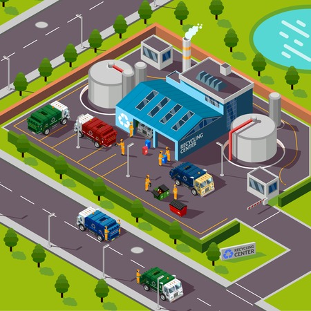 Recycling plant isometric top view with trucks transporting garbage for processing in incinerator vector illustration