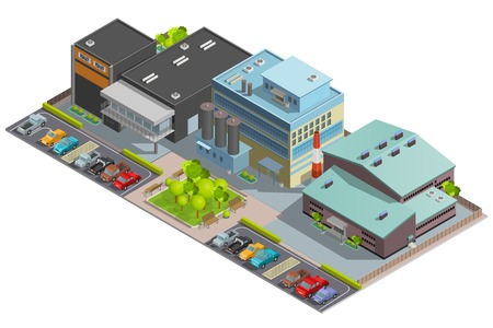 manufactory: Isometric factory composition with warehouse manufacture and office buildings and parking with cars vector illustration Illustration
