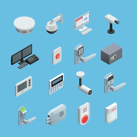 los elementos del sistema de seguridad del hogar isométrica iconos de la colección con la cámara de sensor de movimiento de vigilancia con la ilustración vectorial aislado abstracta de alarma