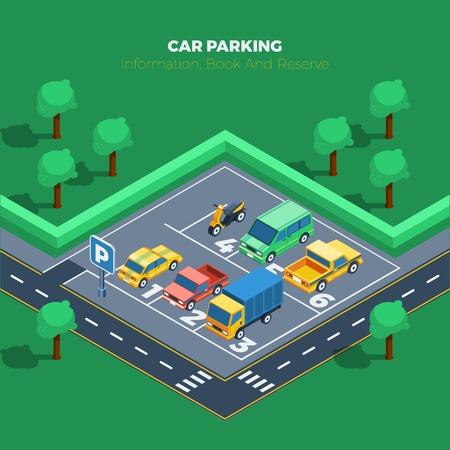 Parking Concept. Informations de stationnement de voiture. Affiche de stationnement de voiture. Parking isométrique Illustration. Parking Vector.
