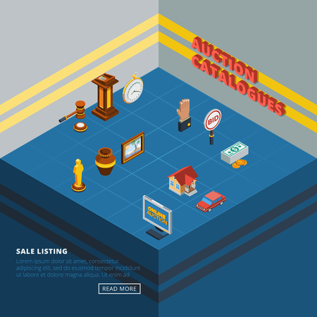 common room: Isometric auction icon set with common elements of bidding process and types of goods in abstract room vector illustration
