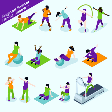 pregnancy woman: Pregnant Women Fitness Icons Set. Pregnant Women Fitness Vector Illustration. Pregnant Women Fitness Decorative Set.  Pregnant Woman Fitness Design Set. Pregnancy Fitness Isometric Isolated Set.