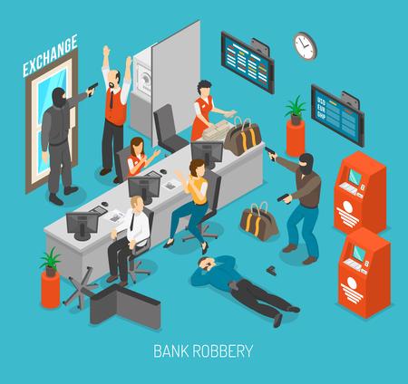 Bank Concetto rapina. Rapina in banca Design. Rapina in banca isometrico illustrazione. Rapina in banca Vettore. Vettoriali