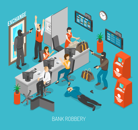 hostage: Bank Robbery Concept. Bank Robbery Design. Bank Robbery Isometric Illustration. Bank Robbery Vector.