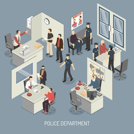 arrested: Police department isometric composition with policemen visitors arrested persons interrogation office interior on blue background vector illustration Illustration