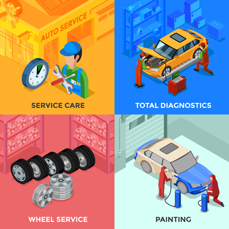 total: Car service isometric 2x2 design concept with total diagnostic wheel service and painting compositions vector illustration Illustration