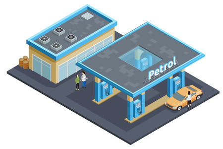 refuel: Gas petrol motorway filling service station to refuel recharge rest eat and drink isometric poster abstract vector illustration Illustration