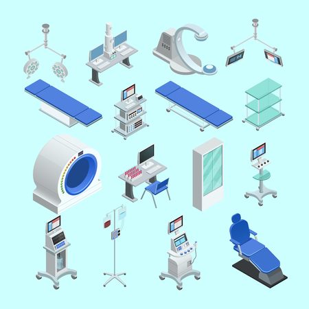 Modern medical surgery and examination rooms equipment with scanner  monitor and operation table abstract isolated vector illustration Иллюстрация