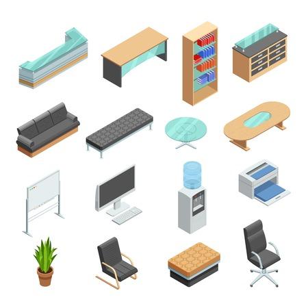muebles de oficina de la colección de iconos isométricos con pizarra equipo gestor de escritorio y una silla de cuero resumen ilustración vectorial aislado