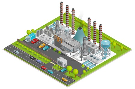 Chemical plant isometric concept with factory pipes fuel containers industrial buildings automobile parking vector illustration Ilustracja
