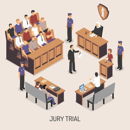 jurado: composici�n isom�trica juicio con jurado con los oficiales de polic�a judicial testigos abogado acusado en el fondo blanco ilustraci�n vectorial