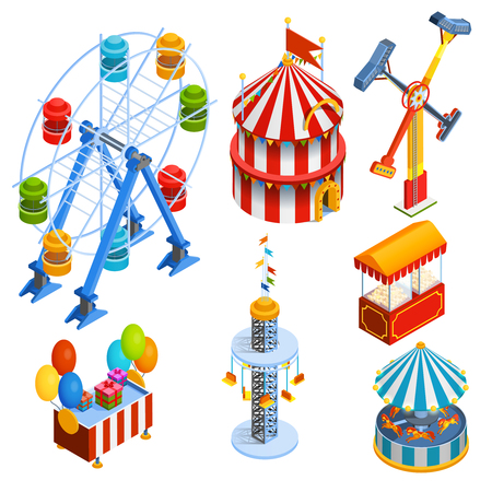 vendor: Amusement park isometric decorative icons set with ferris wheel circus tent popcorn vendor balloons and gift booths in cartoon style isolated vector illustration Illustration