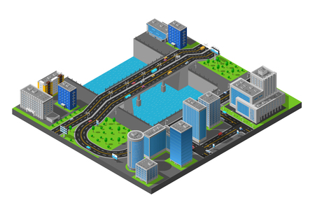 residential district: City business center and residential district isometric map with bridge across the river poster abstract vector illustration