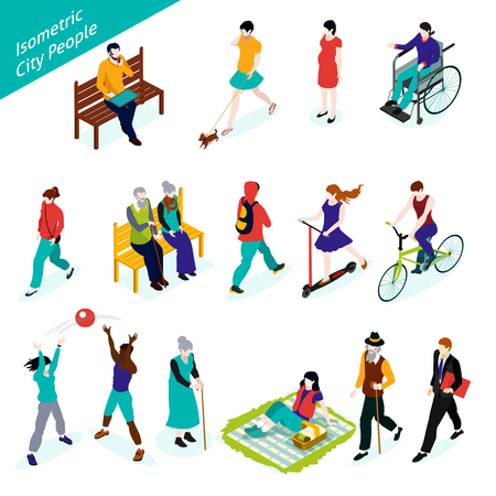City People Icons Set. City People Vector Illustration. City People Decorative Set.  City People Design Set.City People Isometric Isolated Set.