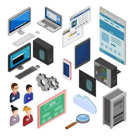 programmers: Development isometric decorative icons set with programmers staff site map laptop smartphone system unit isolated elements flat vector illustration