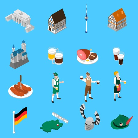 german culture: German culture traditions and national cuisine dishes for travelers with beer and sausage abstract isolated vector illustration