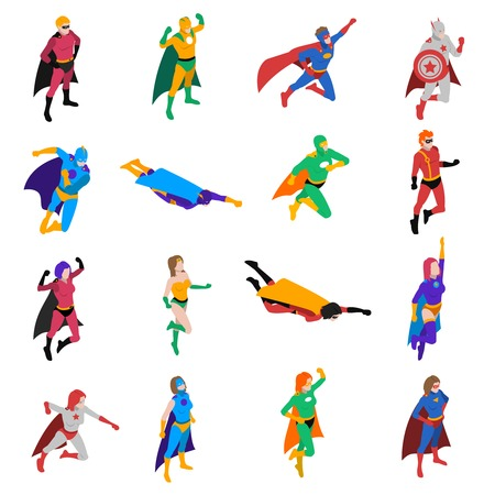 Heroic powerful superhero popular strip cartoon character in action isometric icons collection abstract isolated vector illustration Vectores