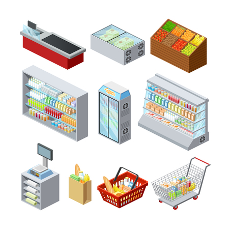 Supermarket shelves showcases freezer cashier counter and customer shopping basket abstract isometric icons collection isolated vector illustration