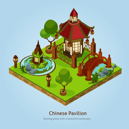 beautiful landscape: Chinese pavilion resting place with beautiful landscape and decoration elements isometric design concept vector illustration Illustration