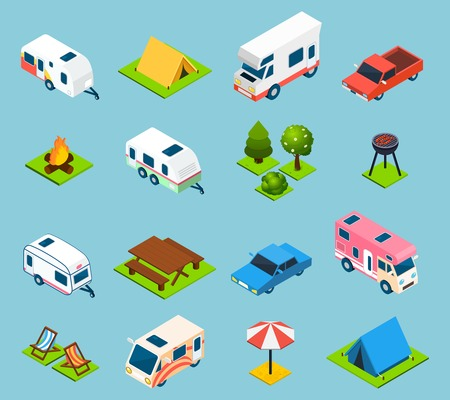 campsite: Camping and travel isometric icons set with trees transport and different things for campsite and travelling on light blue background isolated vector illustration Illustration