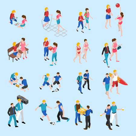 buddies: Friends isometric icons set with playing children and adults talking and sharing hobbies abstract isolated vector illustration