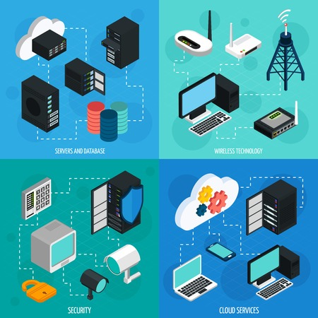 Data center 2x2 isometric icons set with database cloud services security and wireless technology isolated isometric vector illustration