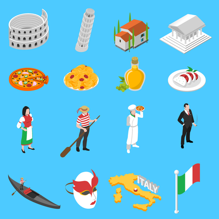 venice italy: Italian sightseeing landmarks and national cuisine for tourists with coliseum pizza and spaghetti abstract isolated vector illustration