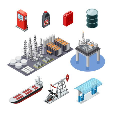 Oil industry isometric icons collection with pump jack tanker canister and sea platform abstract isolated vector illustration Illustration