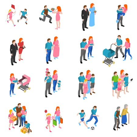 relations familiales icônes isométrique définies avec les parents de mariage d'engagement avec les enfants et les grands-parents abstrait isolé illustration vectorielle