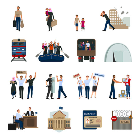 illegal: Stateless refugees flat icons set with illegal immigrants camps embassy building foreign passport symbols isolated vector illustration