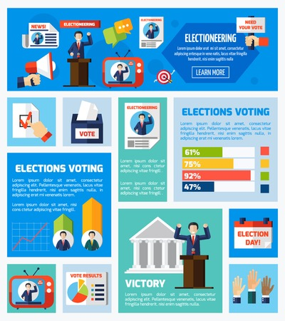 electioneering: Elections and voting flat rectangular isolated elements collection with promotional company voter counting vote results  vector illustration