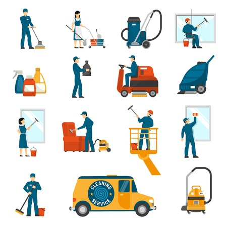 sweeper: Industrial cleaning service workers flat icons collection with vacuum scrubber and sweeper machines abstract isolated vector illustration
