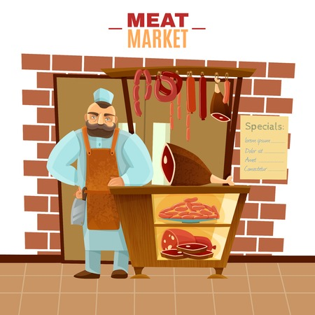 concept design: Butcher and meat market with sausages beef and bacon cartoon vector illustration Illustration