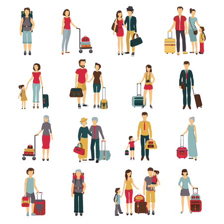 trolley case: Tourists with laggage travelling with partners family friends and alone flat icons collection abstract isolated vector illustation