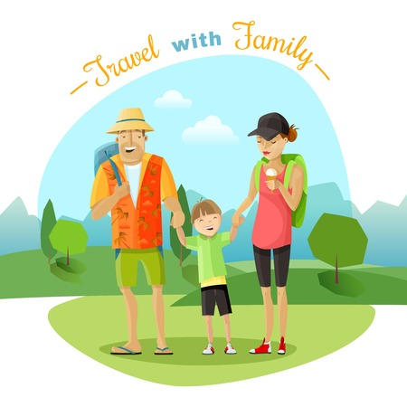 family trip: Family trip with mother father and child in the park cartoon vector illustration