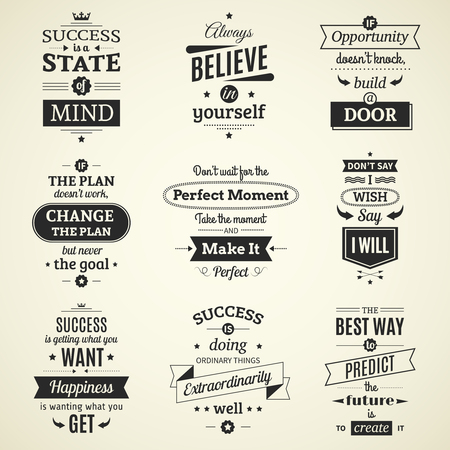 fashioned: Set of inspiring success quotes typographical posters with creative life motivation and using monochrome fashioned font flat vector illustration