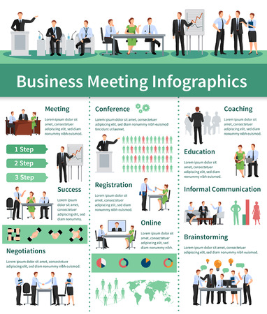business meeting: Business Meeting Infographic Set.Business Meeting  Information. Business Conference Flat Set. Business Meeting Vector Illustration.