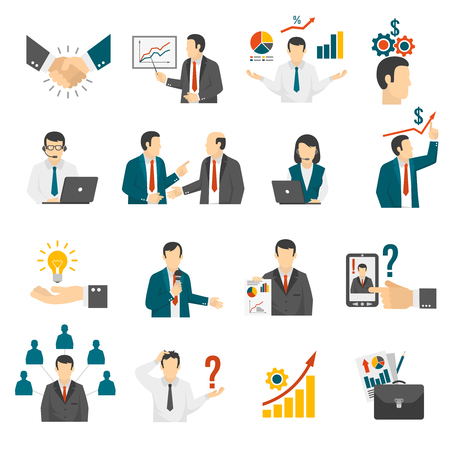 effective: Effective business management training program and leadership development consulting service flat icons set abstract isolated vector illustration