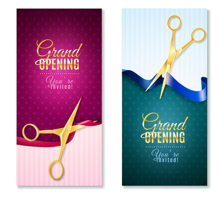 metal cutting: Grand opening invitation vertical banners set with ribbon realistic isolated vector illustration