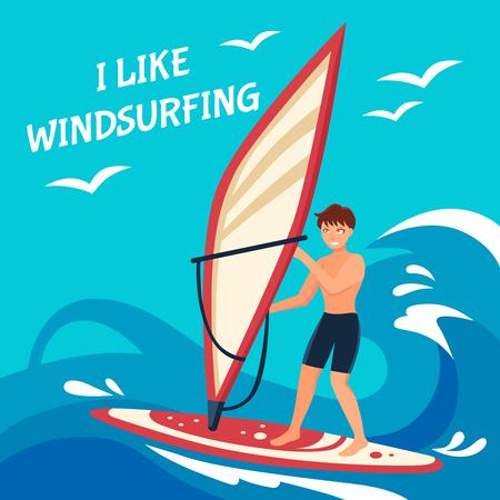 windsurfing: Windsurf fondo plano. Ilustración del vector windsurf. Diseño del cartel windsurf. Deporte acuático Ilustración decorativa.