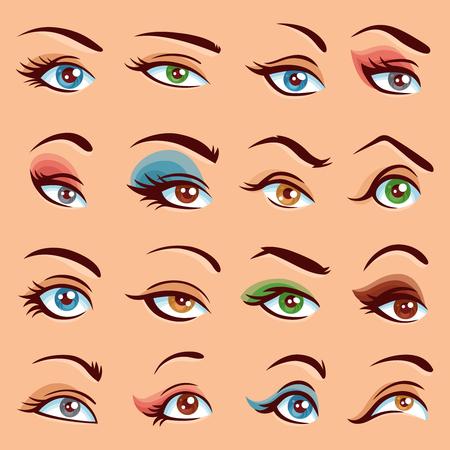 eye makeup: Eye Makeup  Icons Set. Eye Makeup Vector Illustration. Eyes Flat Collection. Eye Makeup Design Set. Eye Makeup Isolated Set. Illustration