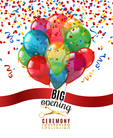 Opening ceremony invitation realistic background with scissors and balloons vector illustration