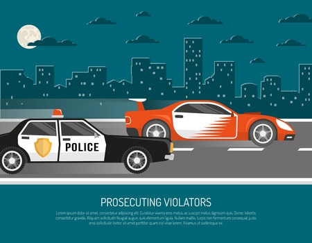 violator: Street racing in city scene with chasing police car approaching violator and warning text abstract vector illustration