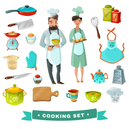 utensils: Cooking cartoon set with people and kitchen utensils isolated vector illustration Illustration