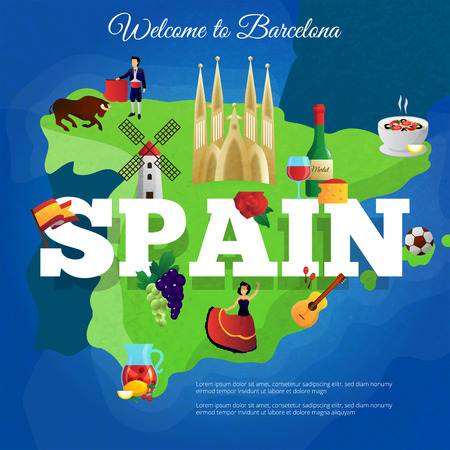 real madrid: Spain cultural symbols composition poster for travelers with national flag and paella and corrida flat vector illustration