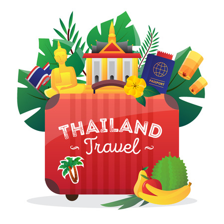 Thailand cultural symbols composition icon for travelers with national flag buddha figure and passport flat vector illustration Illustration